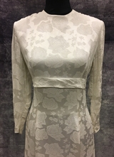 1960's White brocade gown with train/36