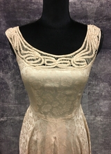1950's Nude brocade gown with cut-outs/34