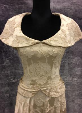 1940's Golden HOLGER BLOM brocade gown/36