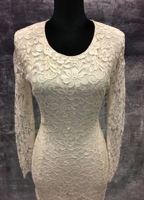1980's Cream lace column gown with long sleeves/36