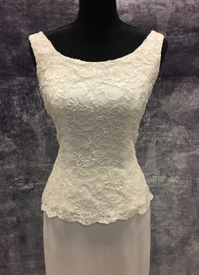 1980's Cream column gown with lace top/38