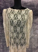 1920's-style Cream lace dress with mermaid effect/40