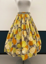 1950's Grey yellow floral skirt/36