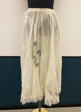 1980's White collage lace and chiffon skirt/36-38