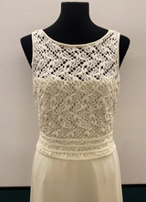 1990's Cream crepe gown with lace top and train/38