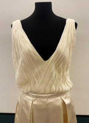 1960's-style Cream silk dropwaist dress/38