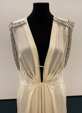 1930's-style Ivory silk gown with rhinestones/38
