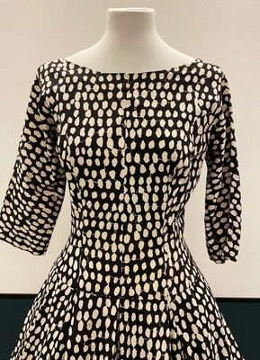 1950's Black and white printed cotton dress/36-38
