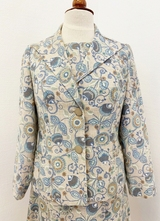 1960's Beige floral dress with jacket/38-40