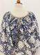 1970's Navy ivory floral dress/38