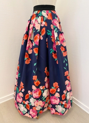 1960's-style Navy pink floral skirt/38