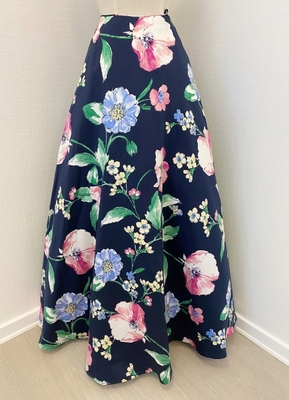 1960's-style Navy green floral skirt/38