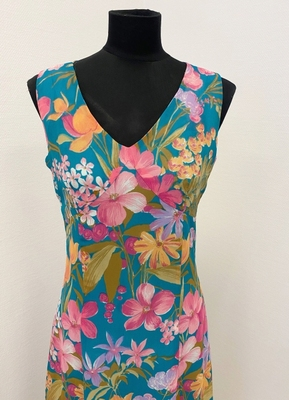 1970's Turquoise pink floral dress/38