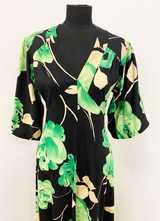 1970's Black green floral gown/38