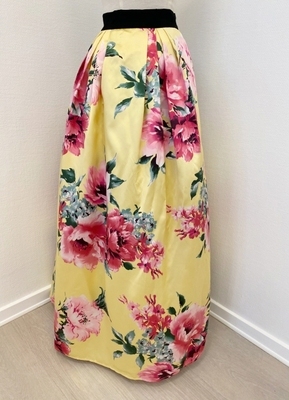 1960's-style Yellow floral skirt/38