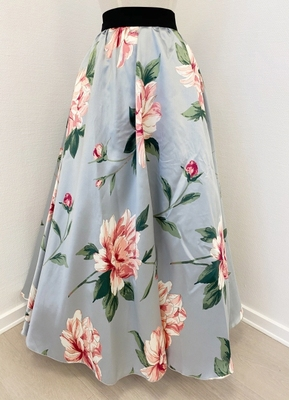 1960's-style Grey floral skirt/40