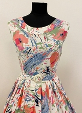 1950's White poppies floral dress/36