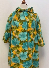 1960's Green floral jacket with hood/38-40