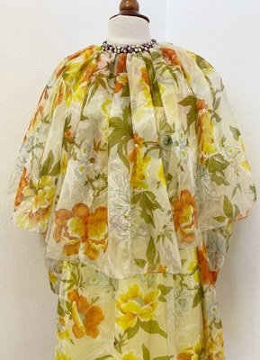 1970's Yellow floral dress/36
