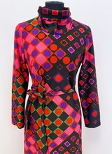 1960's Pink graphic check dress/36