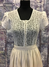 1940's Cream/white lace/silk dress/34-36