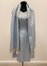 1960's Iceblue brocade dress with shawl/38