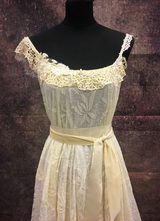1970's-style Ivory cream patchwork gown/38-40