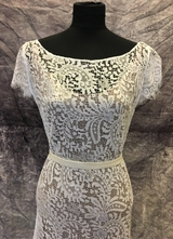 1930's-style White soft lace gown with train/40