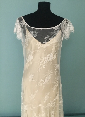 1920's-style Ivory lace dress with irregular skirt/40-42