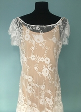 1920's-style White floral lace dress/40-42