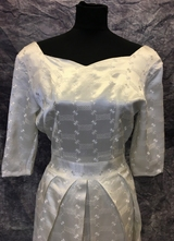 1950's Cream brocade gown with big pleats/36