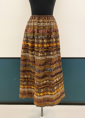 1970's Brown embroidered skirt/38