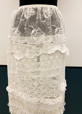 1910's-style White lace mix on tulle skirt/36