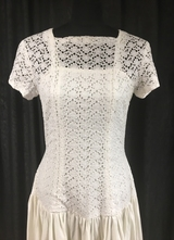 "1980's White ""RIBS"" dress with broderie-anglaise top/38"