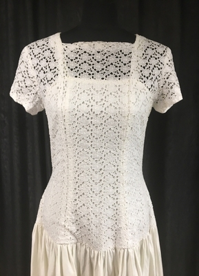 """1980's White """"RIBS"""" dress with broderie-anglaise top/38"""