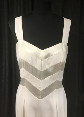 1990's Ivory crepe/satin column gown/38