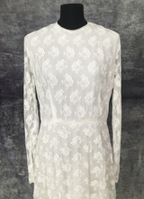 1960's White lace gown with long sleeves/40