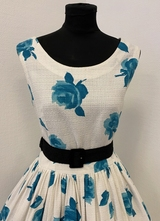 1950's White cotton dress with turquoise flowers/36