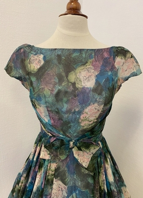 1950's Green purple print chiffon dress/36
