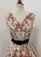 1950's-style Ivory pink floral dress/40