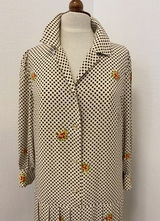 1960's Ivory check CELINE silk dress/40-42