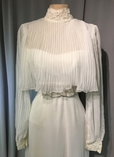 1970's Cream chiffon dress with pleated top/32