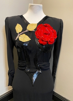 1940's Black crepe dress with red flower/36