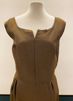 1960's Army green/brown evening gown/40-42
