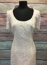 1990's Cream mermaid lace gown/40