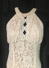 1990's White lace halter neck gown/38-40