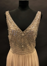 1990's Cream beaded chiffon gown/40