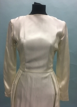 1960's Ivory satin gown with embroidered skirt and train/34