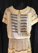 1920's Yellow cotton gauze dress with ruffles/38