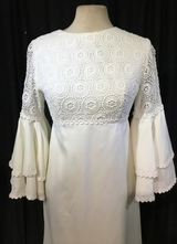 1960's Cream gown with lace trim and flared sleeves/34